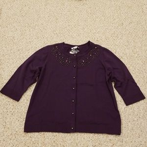 NWT! Christopher & Banks Purple Size XL Cardigan